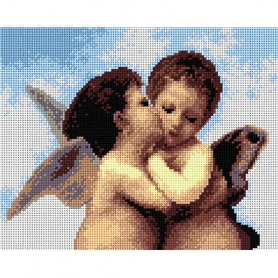 TAPESTRY CANVAS Kissing Angels 24X30cm 2209H