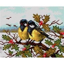 TAPESTRY CANVAS Winter Landscape with Tits 24X30cm 2211H