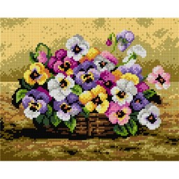 TAPESTRY CANVAS Basket of Pansies 24X30cm 2213H