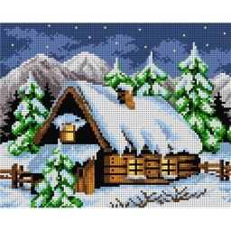 TAPESTRY CANVAS Snowy Hut 24X30cm 2218H