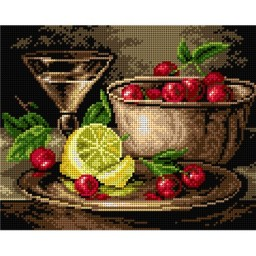 TAPESTRY CANVAS Still Life with Lemon and Cherries 24X30cm 2224H