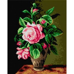 TAPESTRY CANVAS Rose on a Dark Background 24X30cm 2233H