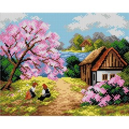 TAPESTRY CANVAS Spring Hut 24X30cm 2238H