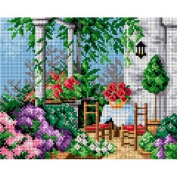 TAPESTRY CANVAS On the summer Terrace 24X30cm 2258H