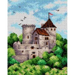 TAPESTRY CANVAS Landscape with Castle 24X30cm 2277H