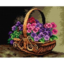 TAPESTRY CANVAS Basket of Violets 24X30cm 2311H