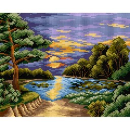 TAPESTRY CANVAS Sunset over the Lake 24X30cm 2347H