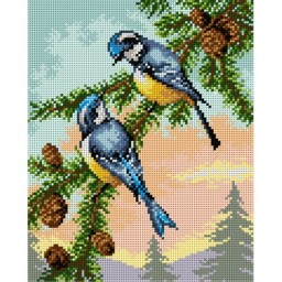 TAPESTRY CANVAS A Pair of Birds on a Tree 24X30cm 2348H