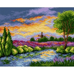 TAPESTRY CANVAS Landscape with Windmill 24X30cm 2365H