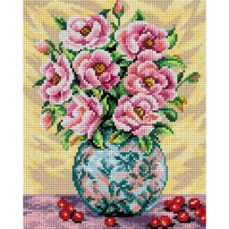 TAPESTRY CANVAS Roses in a Colorful Vase 24X30cm 2399H