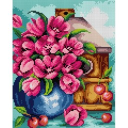 TAPESTRY CANVAS Tulips and Cherries 24X30cm 2407H