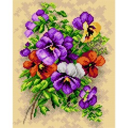 TAPESTRY CANVAS Bouquet of Pansies 24X30cm 2458H