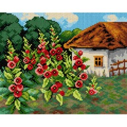 TAPESTRY CANVAS Garden with Mallows 24X30cm 2461H