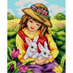 TAPESTRY CANVAS Girl with White Rabbit 24X30cm 2494H