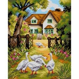 TAPESTRY CANVAS Geese in the Yard 24X30cm 2498H