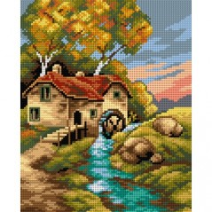 TAPESTRY CANVAS Autumn Landscape with Watermill 24X30cm 2516H