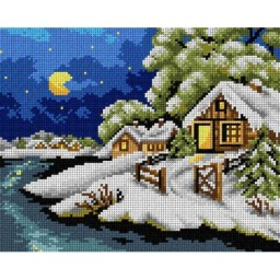 TAPESTRY CANVAS Cold Winter Night 24X30cm 2536H