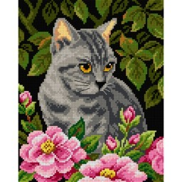 TAPESTRY CANVAS Kitten in the Garden 24X30cm 2582H