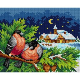 TAPESTRY CANVAS Winter Landscape with Bullfinches 2642H