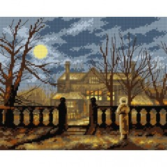 TAPESTRY CANVAS Lady in a Garden by Moonlight after John Atkinson Grimshaw 24X30cm 2649H