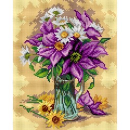 TAPESTRY CANVAS Large Purple Clematis and White Daisies after Raoul Maucherat de Longpre 24X30cm 2676H