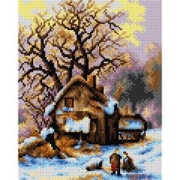 TAPESTRY CANVAS Winter in Holland (fragment) after Frederik Marinus Kruseman 24X30cm 2686H