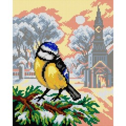 TAPESTRY CANVAS Winter Landscape with Tit 24X30cm 2976H