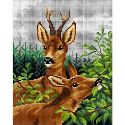 TAPESTRY CANVAS Slag and Doe after Rosa Bonheur 24X30cm 2982H
