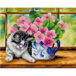 TAPESTRY CANVAS Cat on the Window 24X30cm 3007H