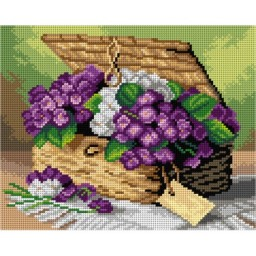 TAPESTRY CANVAS Invoice of Violets after Paul de Longpre 24X30cm 3087H