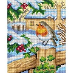 TAPESTRY CANVAS Winter Landscape with a Robin 3088H