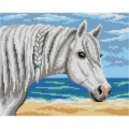 TAPESTRY CANVAS Horse by the Sea 24X30cm 3106H