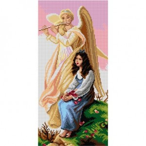 TAPESTRY CANVAS A Girl with an Angel 24X50cm 2942J
