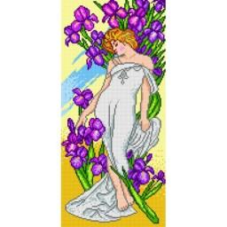 TAPESTRY CANVAS Iris after Alphonse Mucha 25X51cm 1671J