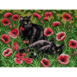 TAPESTRY CANVAS Two Black Cats in Red Poppies 30X40cm 1986J