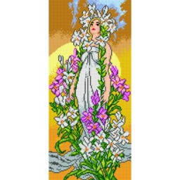 TAPESTRY CANVAS Lily after Alphonse Mucha 25X51cm 2216J