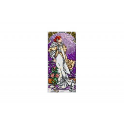 TAPESTRY CANVAS The Lady of the Camellias after Alphonse Mucha 23.5X51cm 2371J
