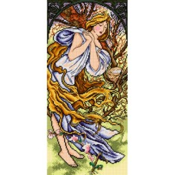 TAPESTRY CANVAS Spring after Alphonse Mucha 23.5X51cm 2374J