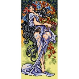 TAPESTRY CANVAS Autumn after Alphonse Mucha 25X51cm 2379