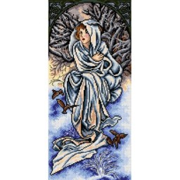 TAPESTRY CANVAS Winter after Alphonse Mucha 25X51cm 2380