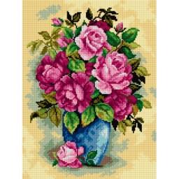 TAPESTRY CANVAS Roses in Vase 30X40cm 2521J