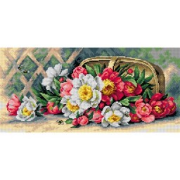 TAPESTRY CANVAS Flowers of May after Raoul Maucherat de Longpre 24X51cm 2675J