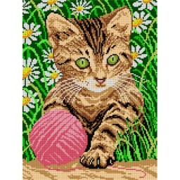 TAPESTRY CANVAS Little Cat in Grass 30X40cm 1242J