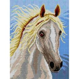 TAPESTRY CANVAS White Horse 30X40cm 1708J