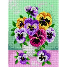 TAPESTRY CANVAS Bouquet of Pansies 30X40cm 1767J