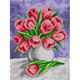 TAPESTRY CANVAS Tulips in a Grey Vase 30X40cm 1768J