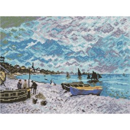TAPESTRY CANVAS The Beach at sainte - Adresse after Claude Monet 30X40cm 1810J
