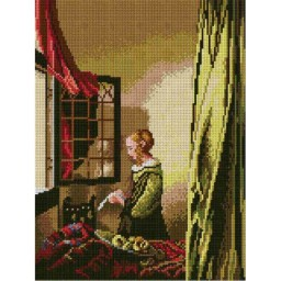 TAPESTRY CANVAS Lady Reading a Letter after Jan Vermeer 30X40cm 1812J