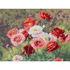 TAPESTRY CANVAS Cluster of Poppies - after Louis Marie Lemaire 30X40cm 1990J