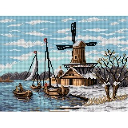 TAPESTRY CANVAS Winter Landscape with Windmill 30X40cm 2059J